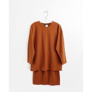 Vintage Copper Ribbed Knit Top + Skirt Set sz S